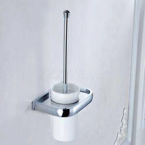 Polished Chrome Wall Mounted Toilet Brush Set With Ceramic Cup Holder ZD898