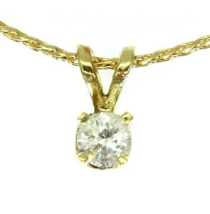 Quality 0.18ct Diamond Solitaire 9ct Yellow Gold Pendant & Spiga Chain Necklace