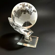 """Etched Glass World Globe With Hand Stand Base 6.5"""" NIB"""