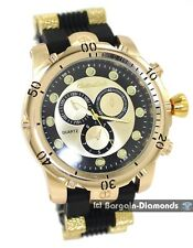 men's big heavy gold tone dress watch dial bullets sport strap designer style