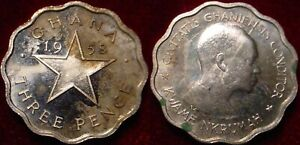 ONLY 20.000 MINTED PROOF 1958 SHILLING GHANA**CIRCULATED****