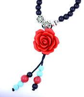 Rot Lack Rose stretcharmband / halskette mit schwarzer und türkis perlen