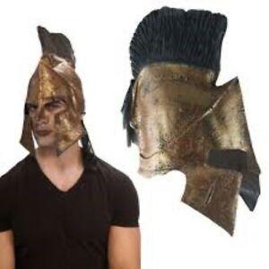 """King Leonidas Helmet Licensed """"300"""" Movie Gld & Blk Latex Spartan Costume Helmet"""