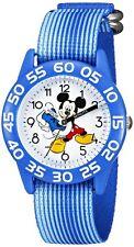 Disney Kids Quartz Wrist Watch Mickey Mouse Time Blue Plastic Nylon Boy Birthday