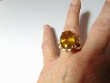 Gorgeous Sterling Silver Citrine & Cubic Zirconia CocKtail Ring Sz 7 | RS L