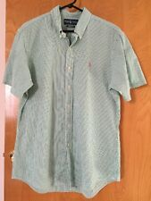 Men's Ralph Lauren Short Sleeve Shirt Green & White Stripe Seersucker Size L EUC