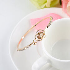 Graceful Hot Women Crystal Flower Bangle Gold Filled Cuff Chain Bracelet Jewelry