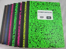 6 Colored Marble Composition Note Books 100 Sheets Wide Ruled