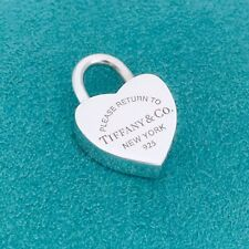 Return to Tiffany & Co Sterling Silver Heart Padlock Lock Charm Pendant