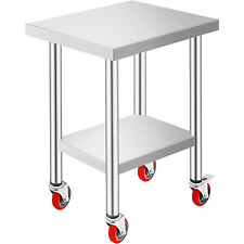 Vevor Commercial 18x24stainless Steel Work Prep Table With 4 Wheels Kitchen