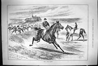 Old Print Sporting Dramatic News 1885 Horse Racing Jockeys Sport Sturgess 19th