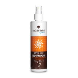 Olio abbronzante viso e corpo SPF 15 250 ml. Messinian Spa