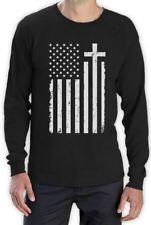 Christian Distressed White USA Cross Flag Religious Long Sleeve T-Shirt Gift