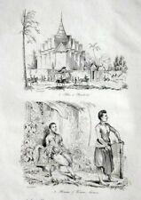 THAILAND - SIAM VIEWS - COSTUMES - D'URVILLE Original 1834 Antique Prints - pair