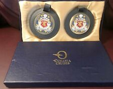 Oceania Cruises Club Leather Luggage Tags Enamel Design On Metal New and Unused