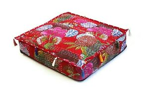 """Handmade Cotton Indian Kantha Square Pouf Seating Ottoman Cover 35x35x5"""" Inches"""