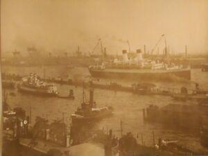 Art Deco Photo Hans Breuer Hamburg 1930 silver bromide stamp Américan lines Ship