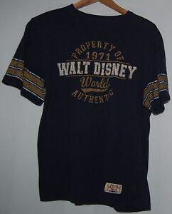 Walt Disney World Disneyland S Navy Blue Gold Womens Football Shirt 1971 Cotton