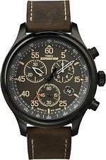 Timex Men's T49905 Expedition Rugged Field Chronograph Black/Brown Leather