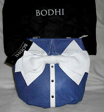 BODHI NANTUCKET NAVY & WHITE LEATHER PERFORATED SATCHEL/TOTE, LARGE, NWT, GREAT!