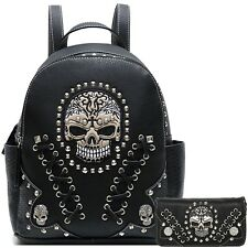 Sugar Skull Punk Art Rivet Studded Biker Purse Women Python Backpack Wallet Set