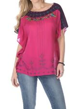 Krista Lee Jungle Oasis Cape Sleeve Bead Embroidered Scarf Fuchsia Purple Top S