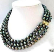3 row 7-8MM Black akoya Pearl Necklace 17-19""