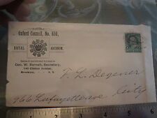1890 Royal Arcanum Oxford Council Brooklyn NYC New York City Stamp Cover