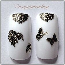 Nail Art 3D Decals/Stickers Black & Gold Flowers & Butterflies #139