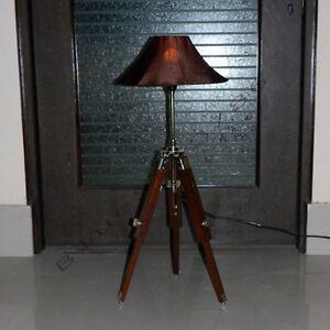 DESIGNER TIMBER TRIPOD TABLE LAMP, DESK LAMP, NAUTICAL MARINE LAMP