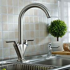 BRUSHED NICKEL FAUCET KITCHEN SINK BASIN MONO MIXER TAP 360 SWIVEL SPOUT