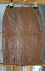 """Vintage Tan Brown Real Leather Pencil Skirt Size: 10 - 26"""" Waist"""