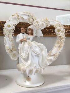 Vintage Bride and Groom Wedding Cake Topper Unique Bridal Shower Decor FREE SHIP