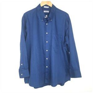 Izod Blue Check Dress Shirt Men Size XL 17 1/2 32/33 Long Sleeve Plaid
