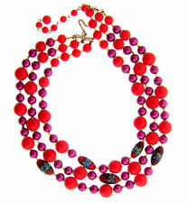 Vintage Japan 3 Strand Necklace Red Purple Glass & Acrylic Beads 1.25x17.5