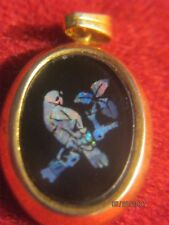 BIRD    SHELL IN RESIN GOLD WRAPPED  OVAL  PENDANT