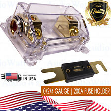 CAR STEREO AUDIO INLINE ANL FUSE HOLDER 0 2 4 IN OUT GAUGE 200 AMP200A 200AMP