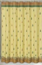 Carnation Home Fashions Winters Break Pine Tree Fabric Shower Curtain Green Gold