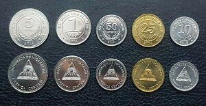 Nicaragua 5 Pcs Coins SET, 10 25 50 Centavos 1 5 Cordoba, UNC, 2014 2015
