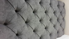 "5ft King Size 40"" High Chesterfield Grey Chenille Deep Buttoned Headboard"