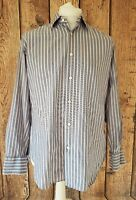 Mens Faconnable Long Sleeve shirt Pink Blue Stripe 16 Collar 46 Chest Large