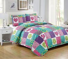 Fancy Linen 3pc Full Bedspread Quilt Pink Purple Heart Flower Peace Sign New
