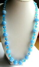 Ancien collier de perles atypiques bleu résine irisée verre biseauté fermoir or