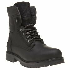 New Mens Wrangler Black Aviator Leather Boots Lace Up