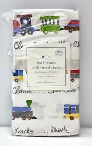 NEW Pottery Barn KIDS Organic Ryder Train Fitted Crib Sheet~Blue Multi