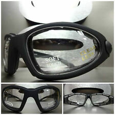 New MOTORCYCLE SPORT Riding Safety Clear Lens PADDED GLASSES GOGGLES Matte Black
