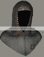 Chainmail Coif Hood Black Butted Medieval Armor Knight Steel Hauberk Chain Mail