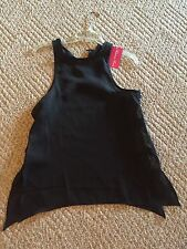 Black Chiffon Top Blouse with Gold Buttons Cut out Sides Size Small Tunic Shirt
