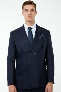 Jack Martin - Navy Twill Double Breasted Suit / Mens Business & Wedding Suit