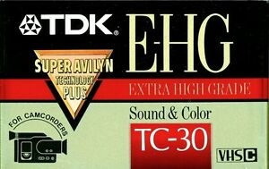 NEW Sealed TDK E-HG Sound & Color TC-30 VHS-C Video Cassette